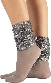Calcetines Brillantes, Calcetines de Mujer, Medias Cortas Sin Puño Elástico, Mini Pantis con Lentejuelas | Negro | 20 DEN | Made in Italy