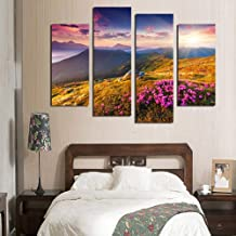 SHENYUAN-Paintings Canvas Wall Art Inkjet Decorative Oil Painting 4 Pcs Mountains Sunset Wall Painting Study Paintings Porch Murals (25 * 40cm*2 25 * 60cm*2 Inner Frame Painting)