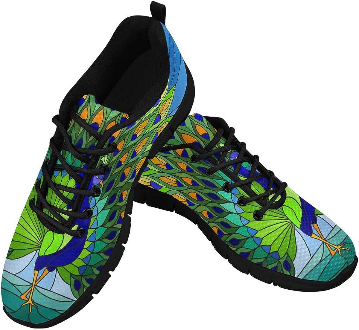 InterestPrint Colorful Peacock Women's Tennis Running Shoes Lightweight Sneakers