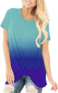 onlypuff Knot Twisted Front Shirts for Women Casual Short Sleeve Tunic Top Comfy