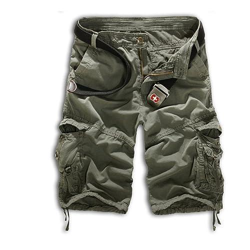 Highdas Pantalones Cortos de Carga para Hombres de Verano Pantalones Cortos  Casuales Pantalones Cortos de Hip 1b756e671a8