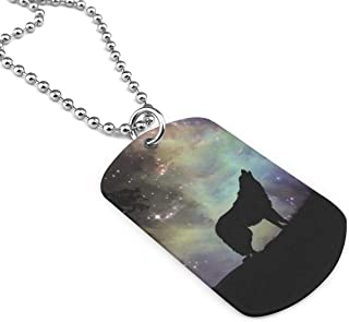 Unisex Wolf Starry Sky Silhouette Fashion Dog Tag Necklace Pendant With Chain Jewelry Gift
