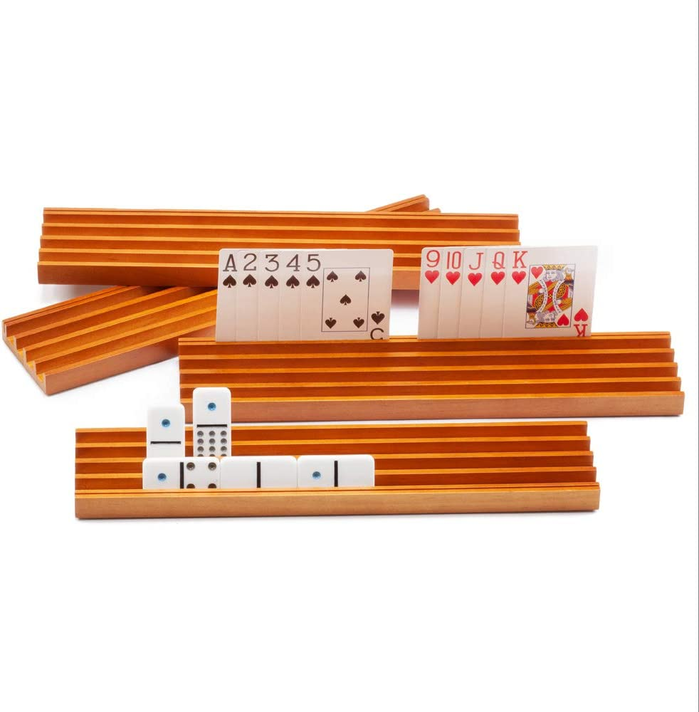 Wooden Domino Playing Card Racks Set Sale Organizer o Trays New arrival Holders
