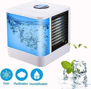 YJHH Climatizador Evaporativo Frio, Aire Acondicionado Mini Enfriador Portátil, 7 Colores LED Luces Multifunción Silencioso 3 Ajustable Velocidades Fácil De Usar para El Hogar/Oficina/Habitación