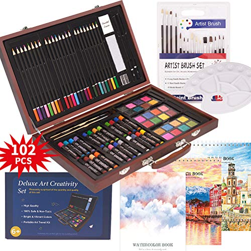 102 Piece Deluxe Art Creativity Set- 2 x 50 Page Sketch Book,1 x 24 Page Watercolor Pad,Art Supplies in Portable Wooden Case-Oil Pastels,Colored Pencils,Watercolor Cakes,Sharpener-Professional Art Kit