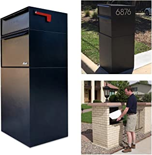 dVault Full Service Vault DVCS0015 Secure Curbside Mailbox/Package Drop with Locking Letterbox (Black)