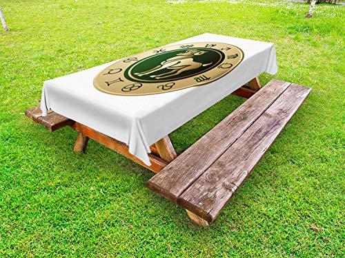 ABAKUHAUS Ram van de dierenriem Tafelkleed voor Buitengebruik, Circle Aries Art, Decoratief Wasbaar Tafelkleed voor Picknicktafel, 58 x 84 cm, Emerald and Sand Brown