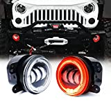 Xprite 4' Inch 60W CREE Led Fog Lights with Red Halo Ring Angle Eye DRL for 07-18 Jeep Wrangler JK Off Road | Front Bumper Replacements Fog Lamps