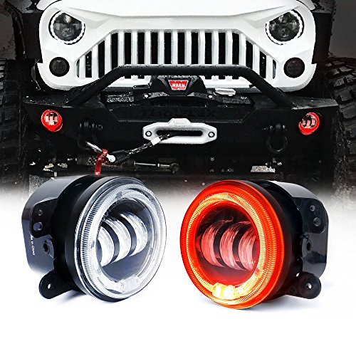"""Xprite 4"""" Inch 60W CREE Led Fog Lights with Red Halo Ring Angle Eye DRL for 07-18 Jeep Wrangler JK Off Road 