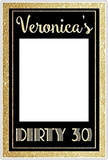 Dirty Thirty Birthday Selfie Frame Gold Glitter Social Media Photo Booth Prop Party Poster