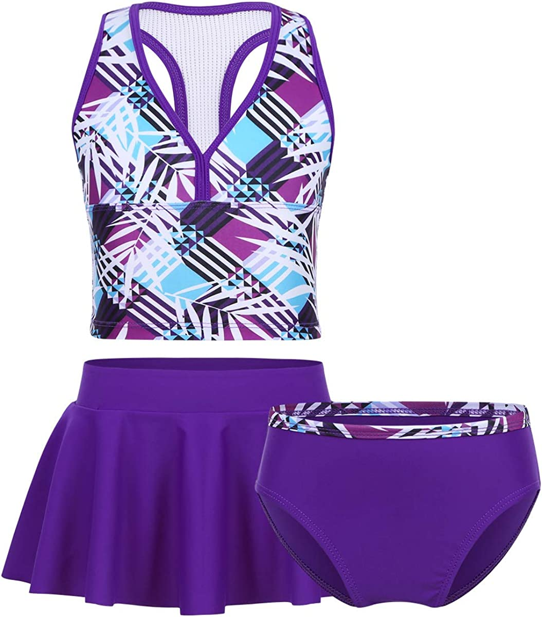 winying Girls 3PCS Digital Printed Racer OFFicial site Tankini Swimsuit Back online shopping T