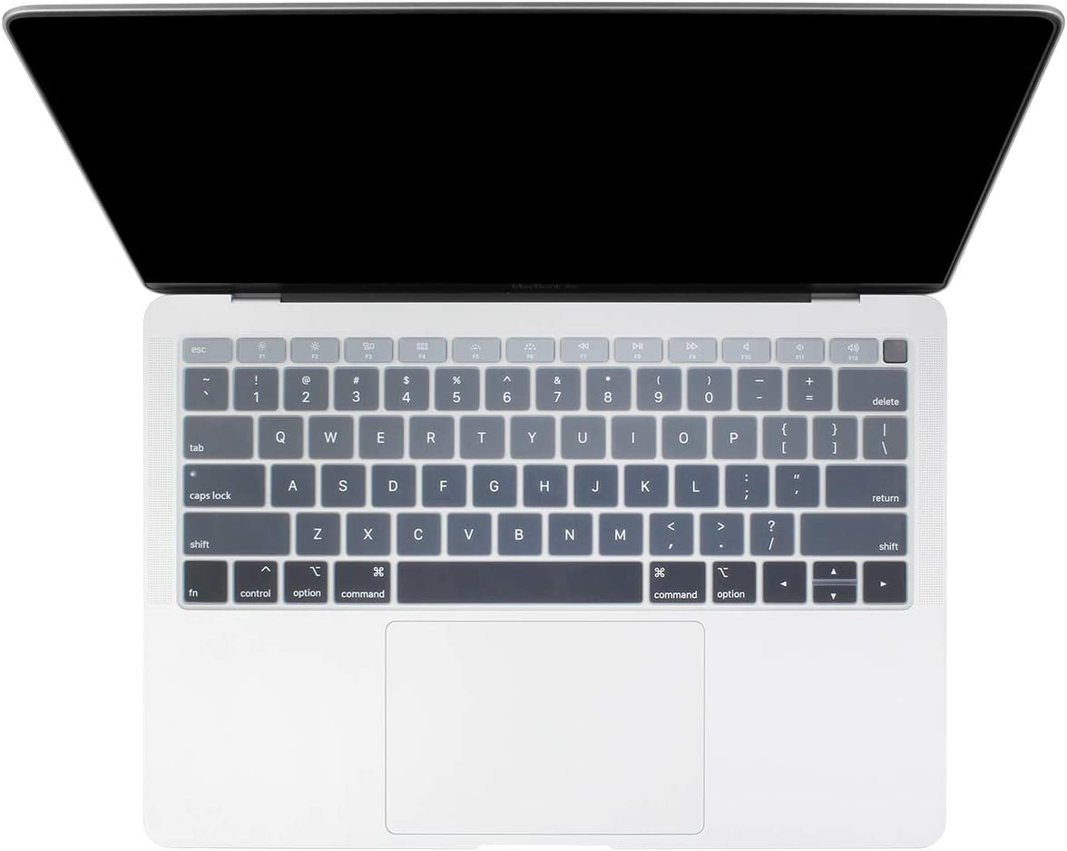 Batianda New Ombre Color Keyboard Cover Protector Silicone Skin for New MacBook Air 13 inch 2019 2018 Release (with Touch ID Retina Display) Model:A1932 (Gradient Grey)