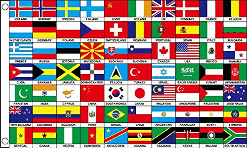 70Nationen Flagge 5ft x 3ft Multi Nation International Country Banner New