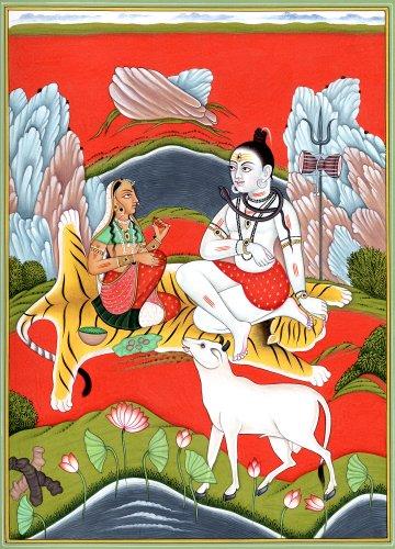 Exotic India Lord Shiva and Parvati on Mount Kailash, Multicolor, tamaño: 10 x 7.2 x 0.2 Pulgadas