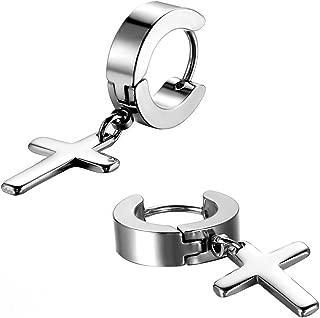 3-6 Pairs Stainless Steel Cross Dangle Huggie Hinged Hoop Earrings for Men Women