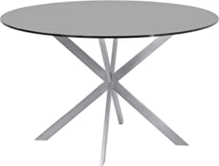Armen Living Mystere Dining Table with Gray Glass Top and Brushed Stainless Steel Finish
