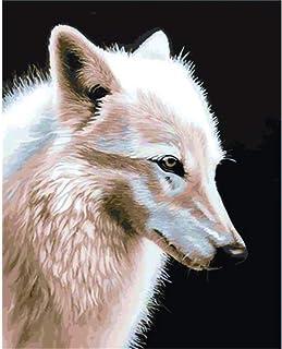 数字キットによる 白狼動物 大人のための数字によるDIYキャンバスオイルペイント、大人のための数字によるアクリル絵の具初心者、家の装飾のための絵画アート40x50cm - フレーム付き