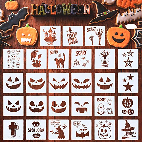 27 Pieces Halloween Painting Stencils Plastic Stencils Template Reusable