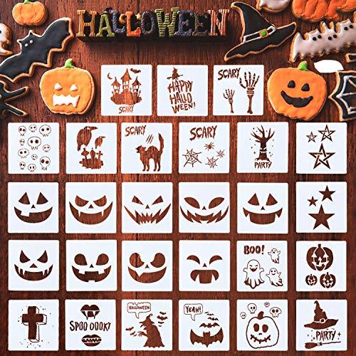 27 Pieces Halloween Painting Stencils Plastic Stencils Template Reusable