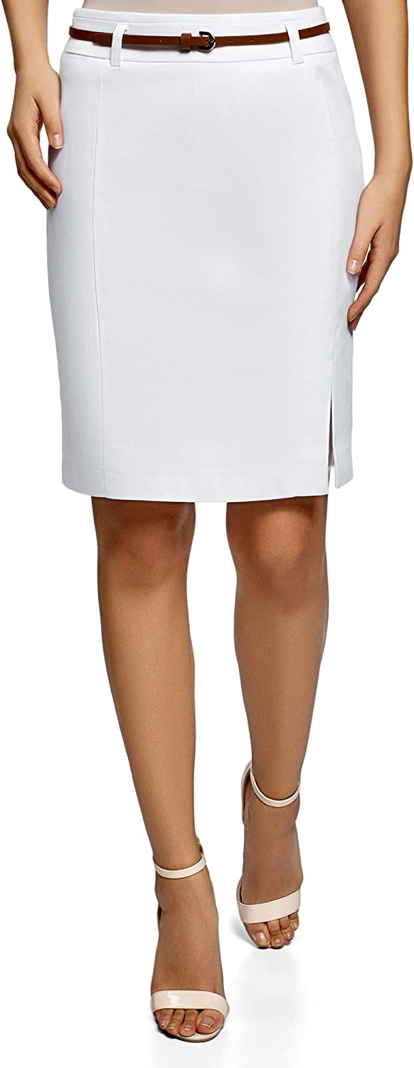 oodji Collection Women's Straight Belted Skirt