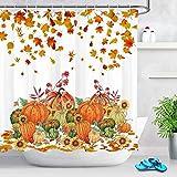 Duschvorhänge mit Bauernhof-Motiv, Kürbis, Sonnenblume, Ahornblätter, 183 x 183 cm, Badezimmer-Dekoration, Badevorhänge mit Haken im Lieferumfang enthalten