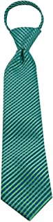 Kids' Zipper Tie (Age 4-9 years old) Lime Green and Pool Blue Stripe Tie