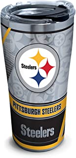 Tervis 1266676 NFL Pittsburgh Steelers Edge Stainless Steel Tumbler with Clear and Black Hammer Lid 20oz, Silver