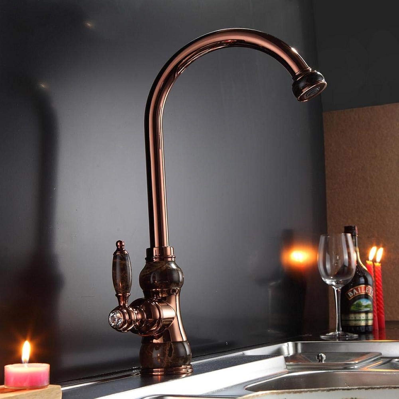 Lddpl Wasserhahn Marmor-Design Küchenarmatur Deck montiert drehbare Rotation Waschtischarmatur Einhand Einlochmontage RotGold Golden Spültischbatterie