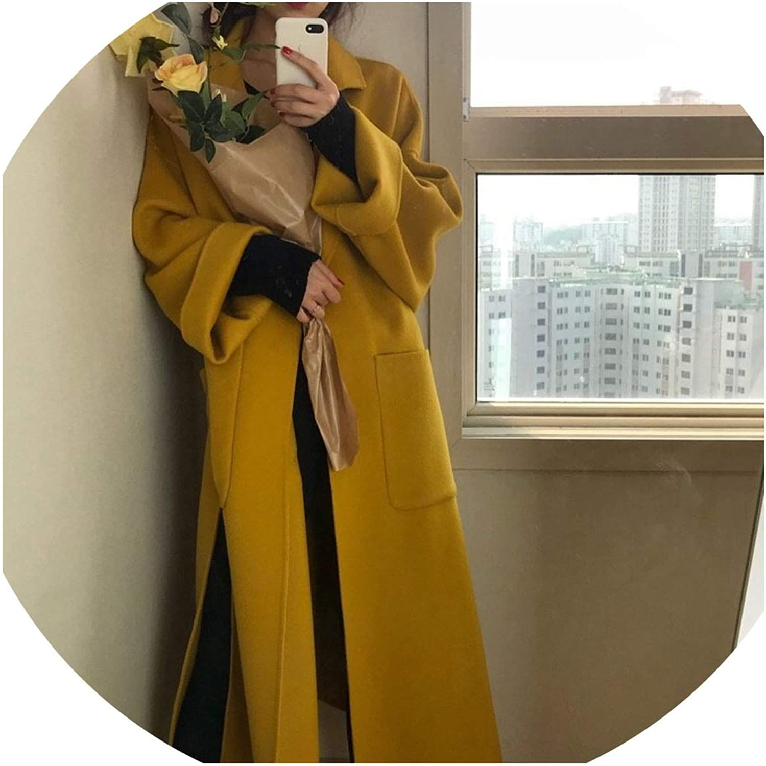 colorfulspace Napole Sashes Pockets Solid Long Coat Casual Loose Vintage Women Jacket,Ginger Yellow,One Size