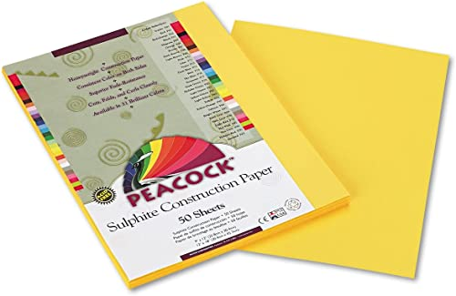ofrecemos varias marcas famosas Peacock Sulphite Construction Paper, 76 lbs., 9 9 9 x 12, amarillo, 50 Sheets Pack  mejor marca