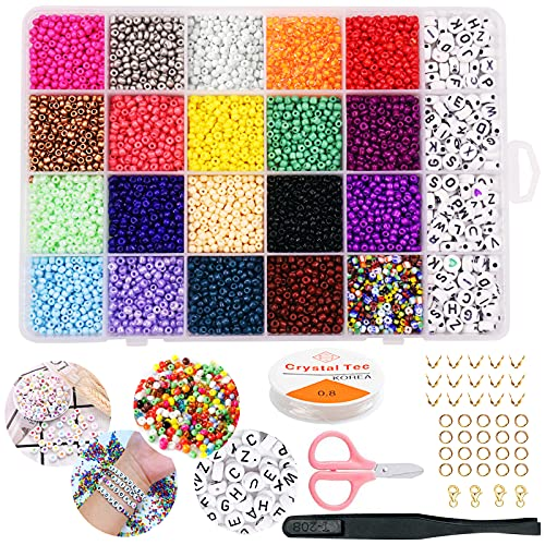Perline Vetro di 3mm per Braccialetti fai da te Colorate Mini Perline Elastic Thread Kit Lettera Acrilica Perline per Creazione di Gioielli, Orecchini, Collane, Bigiotteria