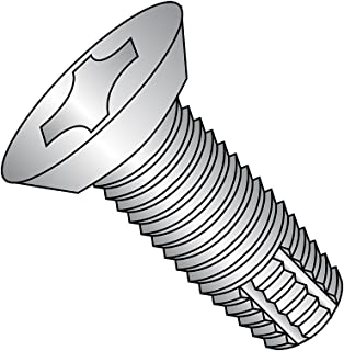 18-8 Stainless Steel Thread Cutting Screw, Plain Finish, 82 Degree Flat Undercut Head, Phillips Drive, Type F, #8-32 Thread Size, 3/8