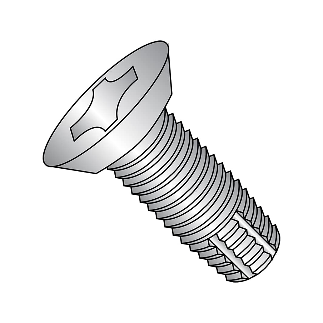 18-8 Stainless Steel Thread Cutting Screw, Plain Finish, 82 Degree Flat Undercut Head, Phillips Drive, Type F, #10-24 Thread Size, 7/16