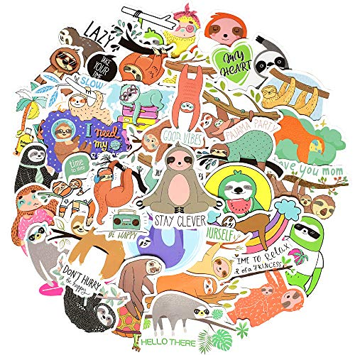 Waterproof Cute Vinyl Stickers for Laptop Water Bottle Craft Supplies (50Pcs Sloth Style)