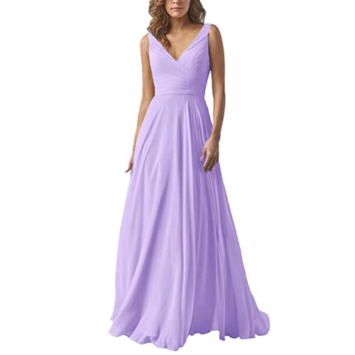 Yilis Double V Neck Elegant Long Bridesmaid Dress Chiffon Wedding Evening  Dress cbc87ce6eb0c