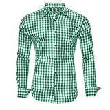 Kayhan Hombre Camisa Slim fit, Oktoberfest Green M