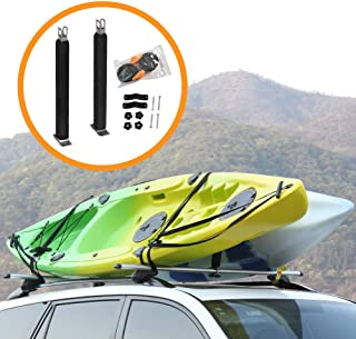 Onefeng Sports Heavy Duty Padded Upright Roof L Bar Vertical Kayak Roof Racks Holder Kayak Car Carrier(Carries 2 Kayaks)