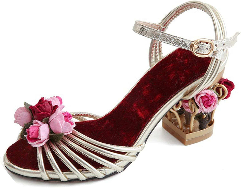 SANDIP MIKEY St Bird Cage High Heels Flower Women shoes Middle Heels Party Dress Women Sandals Big Size 34-43