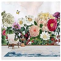 Wkxzz 壁の背景装飾画 壁画花の壁紙の手描きの壁緑の葉の壁布リビングルームの家の装飾-350X250Cm