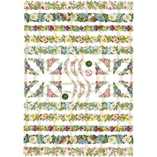 cromos vintage, hoja 16,5x23,5 cm, flores, 3hoja