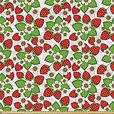 ABAKUHAUS Blumen Stoff als Meterware, Erdbeeren Sommerzeit,