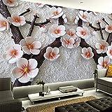 Mural de alta calidad pintura de pared de arte moderno relieve estéreo 3D flor de ciruelo papel tapiz fotográfico Fondo de sala de estar