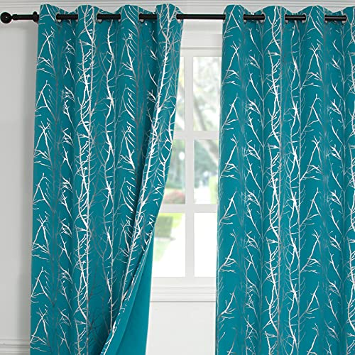 """Reepow Teal Room Darkening Blackout Curtains 84 inches Length 2 Panels, Silver Tree Branch Grommet Thermal Insulated Drapes for Bedroom, Farmhouse, 52"""" x 84"""""""