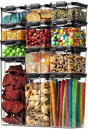 Contenitori Alimentari per Cereali Set 10 Pezzi, Contenitori Ermetici Alimentari Plastica con Coperchio per Alimenti Set, Utilizzato per la Conservazione di Pasta, Cereali, Muesli, Farina