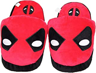 YEMAO Adults Cotton Cartoon Deadpool Plush Slippers Mens Casual Anti Slip Home Washable Warm House Shoes,One size