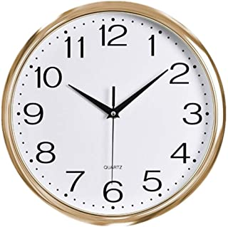 Foxtop Decorative Wall Clock, 11.5 inch Silent Non-Ticking Quartz Battery Operated Wall Clock for Living Room Bedroom Home Office School (Light Gold Plastic Frame, Glass Cover, Arabic Numeral)
