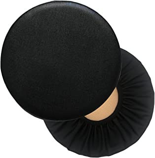 Sigmat 2PC Waterproof PU Bar Stool Cover Anti-Slip Round Seat Cover 19 Inch Black