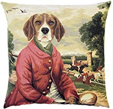 Authentic Jacquard Cotton Woven European Tapestry Pillow Covers / Decorative Gift Throw Pillow Cases / Home Decor Cushion Cover Protector 18X18 in Vintage Dog Beagle Sir Hugo Castle Forest Fox Hunter