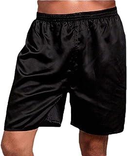 omniscient Men's Satin Boxers Underwear Shorts Solid Soft Loungewear Pajama Short Pant