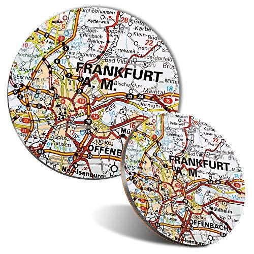 Juego de alfombrilla de ratón y posavasos – Frankfurt am Main Alemania mapa de viaje alemán 20 cm y 9 cm para ordenador y portátil, oficina, regalo, base antideslizante #45064